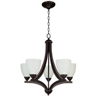 Almeda 5 Light 24 inch Old Bronze Chandelier Ceiling Light in White Frosted Glass