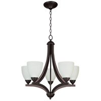 Almeda 5 Light 24 inch Old Bronze Chandelier Ceiling Light in Creamy Frosted Glass
