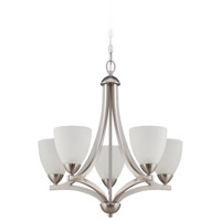 Craftmade 37725-SN Almeda 5 Light 24 inch Satin Nickel Chandelier Ceiling Light in Frost White