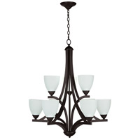 Almeda 9 Light 30 inch Old Bronze Chandelier Ceiling Light in White Frosted Glass