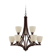 Craftmade 37729-OLB Almeda 9 Light 30 inch Old Bronze Chandelier Ceiling Light in Creamy Frosted Glass