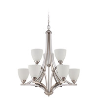 Almeda 9 Light 30 inch Satin Nickel Chandelier Ceiling Light in Frost White