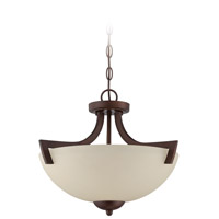 Almeda 3 Light 18 inch Old Bronze Semi Flush Mount Ceiling Light in Creamy Frosted Glass, Convertible to Pendant