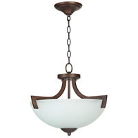 Craftmade 37753-OLB-WF Almeda 3 Light 18 inch Old Bronze Semi-Flushmount Ceiling Light in White Frosted Glass, Convertible