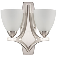 Almeda 2 Light 14 inch Satin Nickel Wall Sconce Wall Light in Frost White