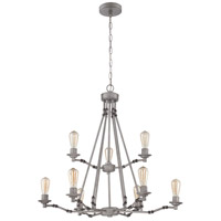 Hadley 9 Light 34 inch Aged Galvanized Chandelier Ceiling Light