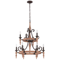 Jeremiah by Craftmade Glenwood 9 Light Chandelier in Aged Bronze & Distressed Oak 38129-JBZDO