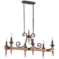 Glenwood 6 Light 32 inch Aged Bronze and Distressed Oak Linear Chandelier Ceiling Light