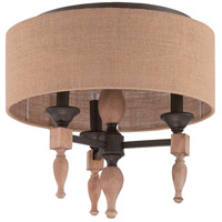 Glenwood 3 Light 17 inch Aged Bronze and Distressed Oak Flush Mount Ceiling Light in Burlap Fabric Shade