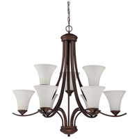 Arabella 9 Light 33 inch Old Bronze Chandelier Ceiling Light in White Frosted Glass