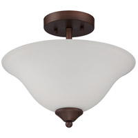 Arabella 2 Light 13 inch Old Bronze Semi Flush Mount Ceiling Light in White Frosted Glass, Convertible to Pendant