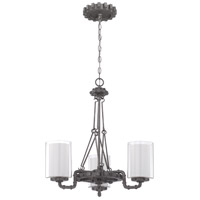 Prime 3 Light 26 inch Aged Galvanized Chandelier Ceiling Light in Clear Outer/Frosted Inner