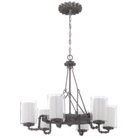 Prime 6 Light 26 inch Aged Galvanized Chandelier Ceiling Light in Clear Outer/Frosted Inner