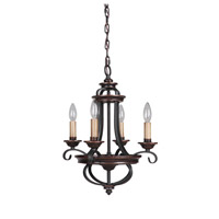 Jeremiah by Craftmade Stafford 4 Light Chandelier in Aged Bronze & Textured Black 38724-AGTB