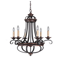 Stafford 6 Light 26 inch Aged Bronze and Textured Black Chandelier Ceiling Light