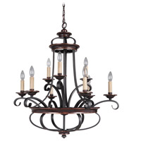 Jeremiah by Craftmade Stafford 9 Light Chandelier in Aged Bronze & Textured Black 38729-AGTB