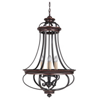 Stafford 6 Light 23 inch Aged Bronze & Textured Black Foyer Chandelier Ceiling Light