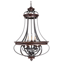 Jeremiah by Craftmade Stafford 9 Light Foyer Chandelier in Aged Bronze & Textured Black 38739-AGTB