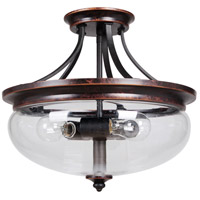Stafford 3 Light 15 inch Aged Bronze and Textured Black Semi-Flushmount Ceiling Light in Clear Glass