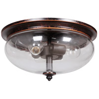 Stafford 3 Light 15 inch Aged Bronze & Textured Black Flushmount Ceiling Light in Clear Glass