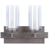 Mod 2 Light 15 inch Natural Iron and Vintage Iron Vanity Light Wall Light in Clear Outer/Etched Inner