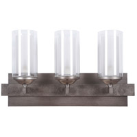 Mod 3 Light 22 inch Natural Iron & Vintage Iron Vanity Wall Light in Clear Outer/Etched Inner