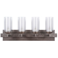 Mod 4 Light 28 inch Natural Iron & Vintage Iron Vanity Wall Light in Clear Outer/Etched Inner
