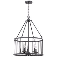 Jeremiah by Craftmade Villa 5 Light Pendant in Black Iron 39435-BKI