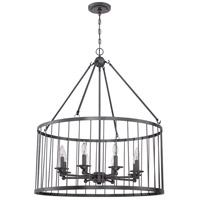 Jeremiah by Craftmade Villa 8 Light Pendant in Black Iron 39438-BKI