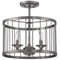 Villa 3 Light 16 inch Black Iron Cage Semi Flush Mount Ceiling Light