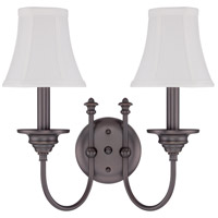 Beaumont 2 Light 14 inch Legacy Brass Wall Sconce Wall Light in Silk Fabric