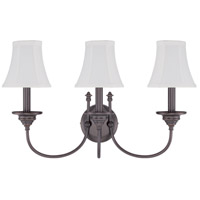 Beaumont 3 Light 22 inch Legacy Brass Wall Sconce Wall Light in Silk Fabric