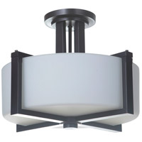 Albany 3 Light 16 inch Oiled Bronze Semi Flush Ceiling Light