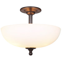 Brighton 3 Light 16 inch Espresso Semi Flush Mount Ceiling Light, Convertible to Pendant