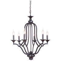Gabriella 6 Light 26 inch Matte Black Chandelier Ceiling Light, Jeremiah