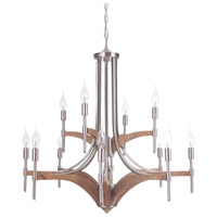 Craftmade 40312-BNKWB Tahoe 12 Light 30 inch Brushed Nickel and Whiskey Barrel Chandelier Ceiling Light in Brushed Nickel/Whiskey Barrel, Jeremiah