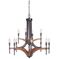 Craftmade 40312-ESPWB Tahoe 12 Light 30 inch Espresso and Whiskey Barrel Chandelier Ceiling Light in Espresso/Whiskey Barrel, Jeremiah