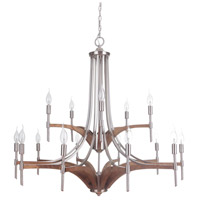 Tahoe 15 Light 39 inch Brushed Nickel/Whiskey Barrel Chandelier Ceiling Light, Jeremiah