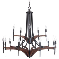 Tahoe 15 Light 39 inch Espresso and Whiskey Barrel Chandelier Ceiling Light in Espresso/Whiskey Barrel, Jeremiah