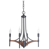 Craftmade 40324-ESPWB Tahoe 4 Light 19 inch Espresso and Whiskey Barrel Chandelier Ceiling Light in Espresso/Whiskey Barrel, Jeremiah
