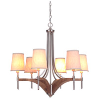 Craftmade 40326-BNKWB Tahoe 6 Light 25 inch Brushed Polished Nickel/Whiskey Barrel Chandelier Ceiling Light in Brushed Nickel/Whiskey Barrel alternative photo thumbnail