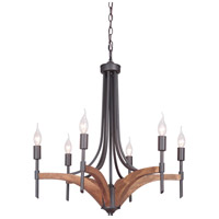 Craftmade 40326-ESPWB Tahoe 6 Light 25 inch Espresso and Whiskey Barrel Chandelier Ceiling Light in Espresso/Whiskey Barrel