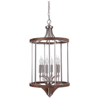 Tahoe 6 Light 16 inch Brushed Nickel and Whiskey Barrel Foyer Light Ceiling Light in Brushed Nickel/Whiskey Barrel, Jeremiah