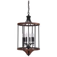 Tahoe 6 Light 16 inch Espresso and Whiskey Barrel Foyer Light Ceiling Light in Espresso/Whiskey Barrel, Jeremiah