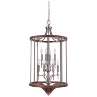Tahoe 8 Light 18 inch Brushed Nickel and Whiskey Barrel Foyer Light Ceiling Light in Brushed Nickel/Whiskey Barrel, Jeremiah
