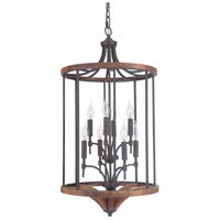 Tahoe 8 Light 18 inch Espresso and Whiskey Barrel Foyer Light Ceiling Light in Espresso/Whiskey Barrel, Jeremiah