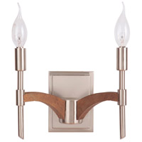 Tahoe 2 Light 10 inch Brushed Nickel and Whiskey Barrel Wall Sconce Wall Light in Brushed Nickel/Whiskey Barrel, Jeremiah