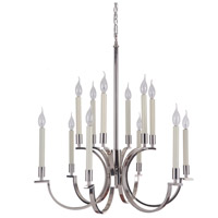 Craftmade 40412-PLN Crescent 12 Light 30 inch Polished Nickel Chandelier Ceiling Light, Jeremiah