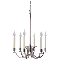 Crescent 6 Light 21 inch Polished Nickel Chandelier Ceiling Light, Jeremiah
