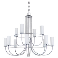 Cascade 12 Light 32 inch Chrome Chandelier Ceiling Light in White Frosted Glass